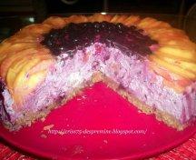 Cheesecake cu afine si piersici