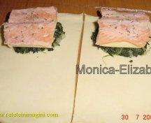 Pe fiecare dreptunghi am pus la baza spanac/o felie de mozzarella apoi cate o bucatica de somon