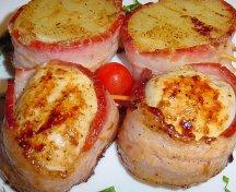 Medalioane invelite in bacon