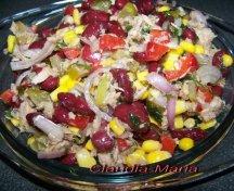 Salata de fasole kidney cu porumb si ton