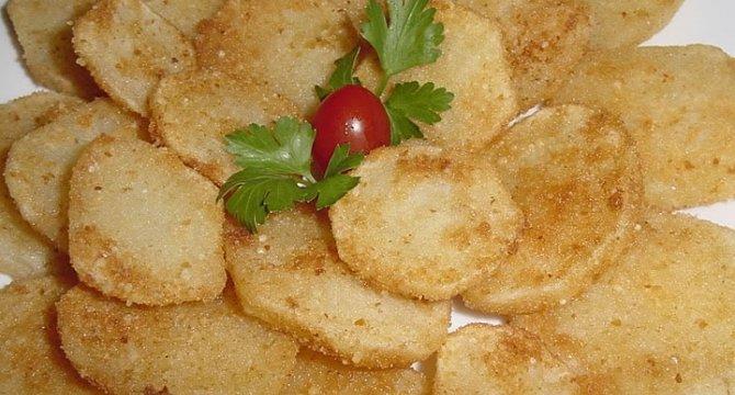 Cartofi aurii cu parmezan si pesmet