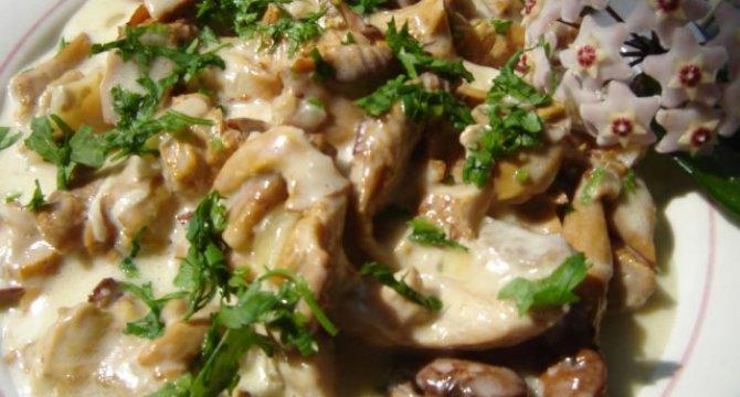 Ciulama cu ciuperci, galbiori