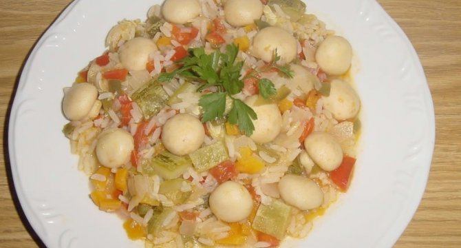 Orez cu legume si ciuperci