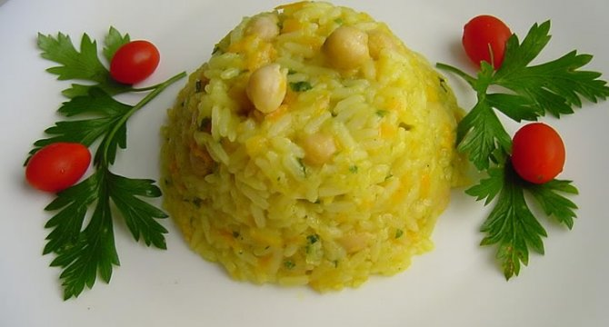 Pilaf din orez si naut