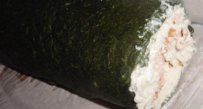 Rulada cu spanac si somon