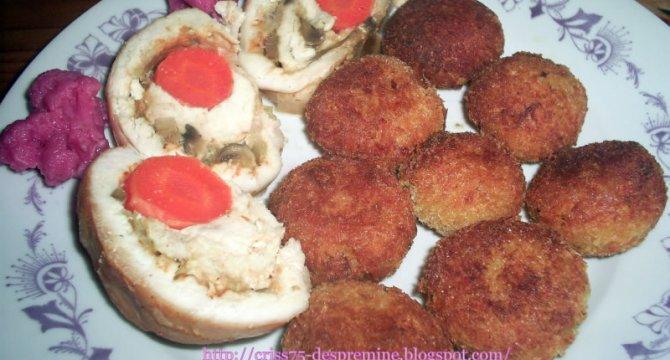 Rulada din piept de pui cu crochete de cartofi