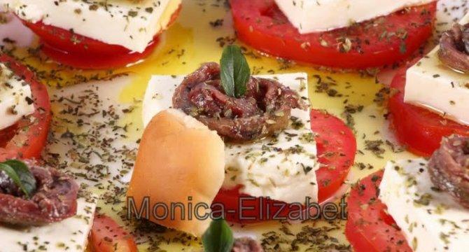 Salata de rosii, mozzarella si anchoa