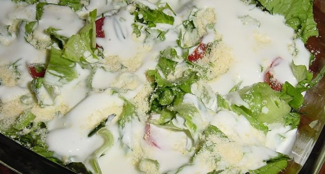 Salata verde cu sos de iaurt si parmezan