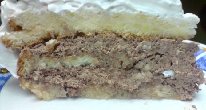 Tort din albusuri cu crema de cacao