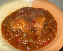 Carne cu sos de ceapa si ardei copti