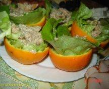 Salata cu paste in cosulete de portocale